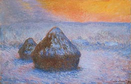 Stacks of Wheat (Sunset, Snow Effect) | Monet | Painting Reproduction