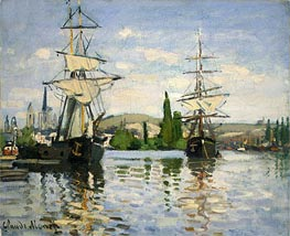 Ships Riding on the Seine at Rouen   Monet   Painting Reproduction