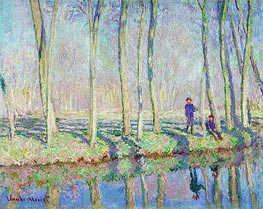Jean-Pierre Hoschede and Michel Monet on the Banks of the Epte | Monet | Painting Reproduction