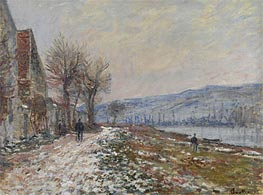 The Riverbank at Lavacourt, Snow | Monet | Gemälde Reproduktion
