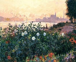 Argenteuil, the Bank in Flower | Monet | Painting Reproduction
