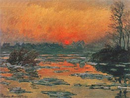 Sunset on the Seine at Lavacourt | Monet | Painting Reproduction