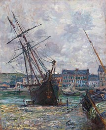 Boats Lying at Low Tide at Fecamp, 1881 by Monet | Painting Reproduction