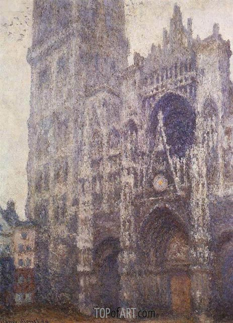 Rouen Cathedral, Tour d'Albane, Grey Weather, 1894 | Monet | Painting Reproduction