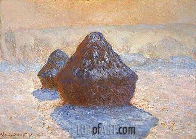 Haystacks, White Frost Effect, 1891 | Monet | Painting Reproduction