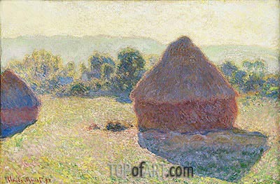 Haystacks in the Sunlight, Midday, 1890 | Monet | Gemälde Reproduktion