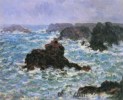 Belle Ile, Rain Effect, 1886 | Monet | Painting Reproduction