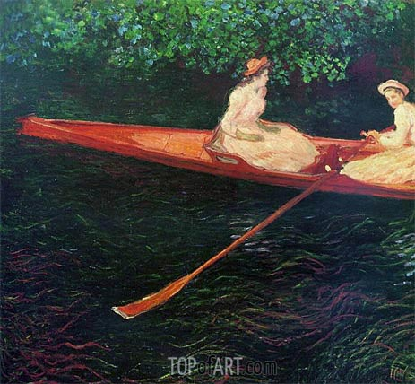 Boating on the River Epte, 1890 | Monet | Painting Reproduction