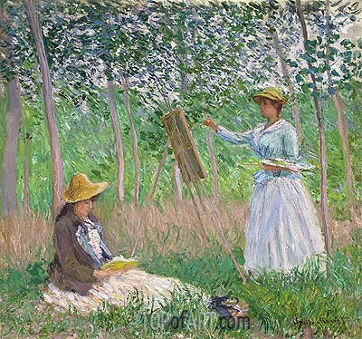 In the Woods at Giverny (Blanche Hoschede at Her Easel with Suzanne Hoschede Reading), 1887 | Monet | Gemälde Reproduktion