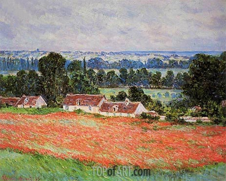 Poppy Field at Giverny, 1885 | Monet | Painting Reproduction