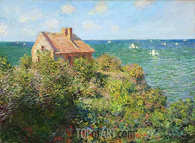 Fisherman's Cottage on the Cliffs at Varengeville, 1882 | Monet | Painting Reproduction