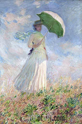 Woman with a Parasol Facing Right, 1886 | Monet | Painting Reproduction