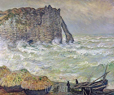 Etretat, Rough Sea, 1883 | Monet | Painting Reproduction