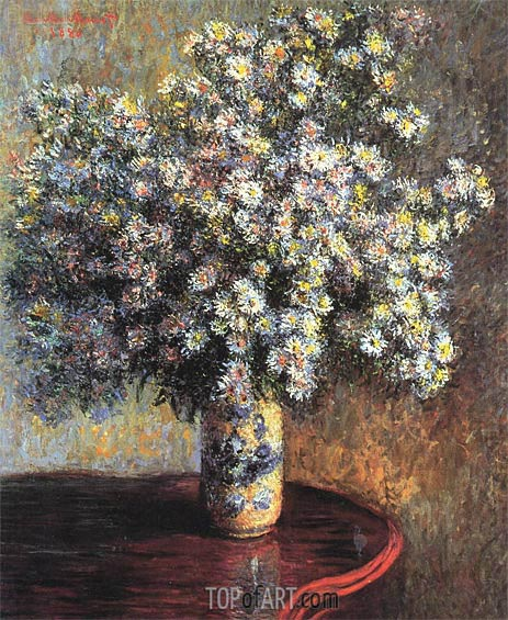 Asters, 1880 | Monet | Gemälde Reproduktion