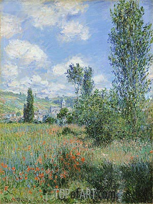 View of Vetheuil, 1880 | Monet | Gemälde Reproduktion
