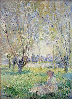 Woman Seated under the Willows, 1880 | Monet | Painting Reproduction