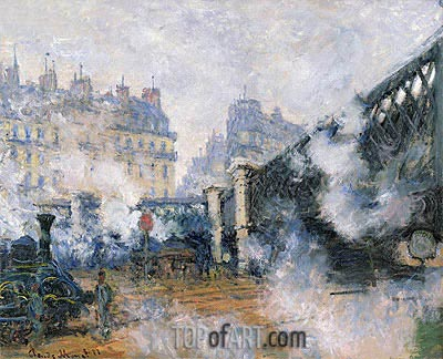 The Pont de l'Europe, Saint Lazare Station, 1877 | Monet | Painting Reproduction