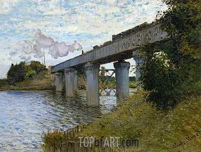 The Railway Bridge at Argenteuil, c.1873/74 | Monet | Gemälde Reproduktion