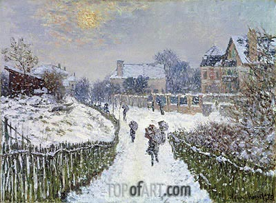 Boulevard Saint-Denis, Argenteuil, in Winter, 1875 | Monet | Gemälde Reproduktion