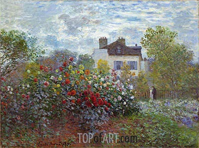 The Artist's Garden in Argenteuil (The Dahlias), 1873 | Monet | Gemälde Reproduktion
