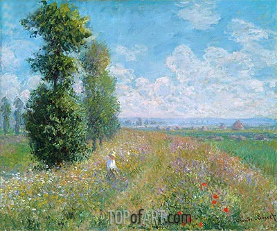 Meadow with Poplars (Poplars near Argenteuil), 1875 | Monet | Painting Reproduction
