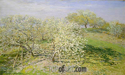 Spring (Fruit Trees in Bloom), 1873 | Monet | Painting Reproduction