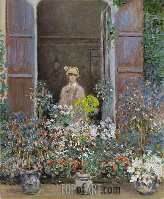Camille Monet at the Window, Argenteuil, 1873 | Monet | Gemälde Reproduktion