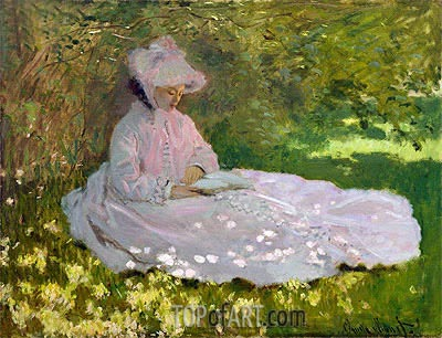 Springtime (The Reader), 1872 | Monet | Painting Reproduction
