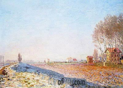 The Plain of Colombes, White Frost, 1873 | Monet | Gemälde Reproduktion