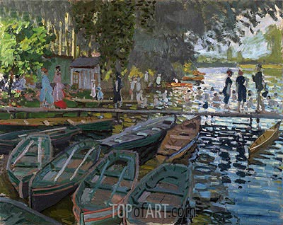 Bathers at la Grenouillere, 1869 | Monet | Painting Reproduction