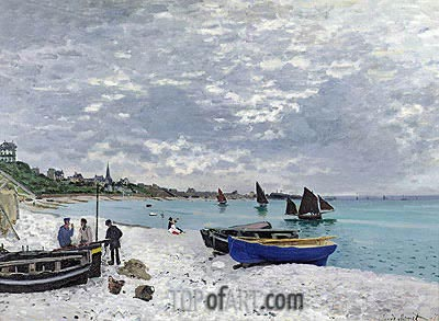 The Beach at Sainte Adresse, 1867 | Monet | Painting Reproduction