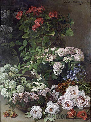 Spring Flowers, 1864 | Monet | Painting Reproduction