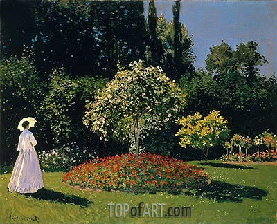 Woman in the Garden. Sainte Adresse, 1867 | Monet | Gemälde Reproduktion