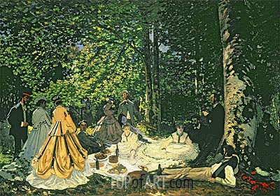 Luncheon on the Grass (Le Dejeuner sur l'Herbe), 1866 | Monet | Gemälde Reproduktion