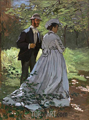 Bazille and Camille (Study for 'Déjeuner sur l'Herbe'), 1865 | Monet | Gemälde Reproduktion