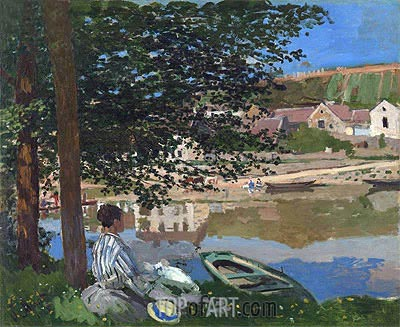 On the Bank of the Seine, Bennecourt, 1868 | Monet | Painting Reproduction