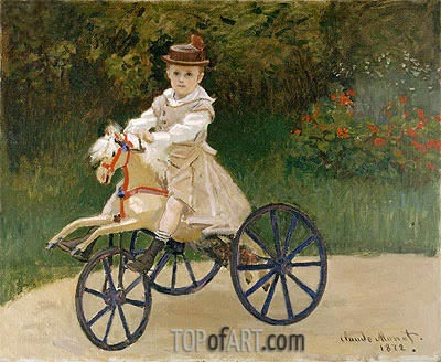 Jean Monet on His Horse Tricycle, 1872 | Monet | Gemälde Reproduktion