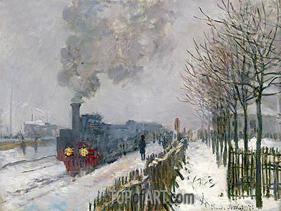 Train in the Snow (The Locomotive), 1875 | Monet | Gemälde Reproduktion