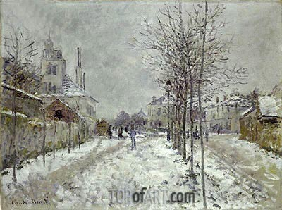 Boulevard de Pontoise at Argenteuil, Snow Effect, 1875 | Monet | Gemälde Reproduktion