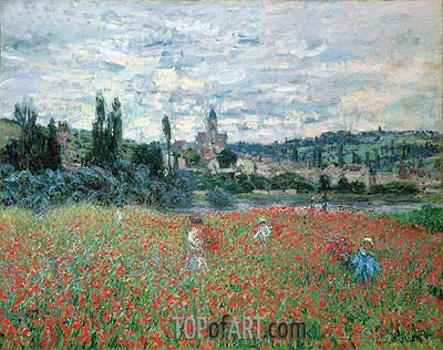 Poppies near Vetheuil, c.1879 | Monet | Gemälde Reproduktion