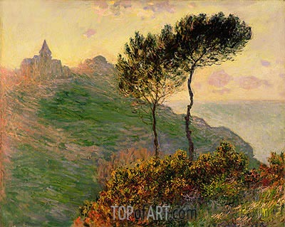 The Church at Varengeville, against the Sunset, 1882 | Monet | Gemälde Reproduktion