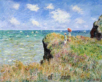 Cliff Walk at Pourville, 1882 | Monet | Painting Reproduction