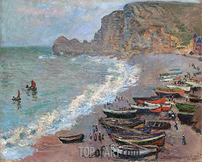 Etretat, Beach and the Porte d'Amont, 1883 | Monet | Gemälde Reproduktion