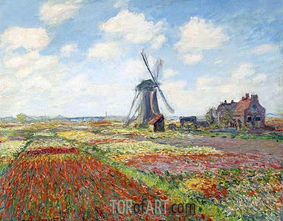 Tulip Fields with the Rijnsburg Windmill, 1886 | Monet | Painting Reproduction