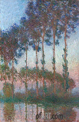 Poplars on the Banks of the River Epte at Dusk, 1891 | Monet | Painting Reproduction