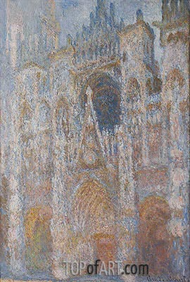 Rouen Cathedral, Blue Harmony, Morning Sunlight, 1894 | Monet | Painting Reproduction