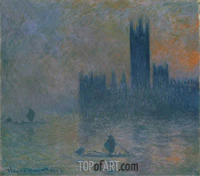 The Houses of Parliament (Effect of Fog), 1903   Monet   Painting Reproduction