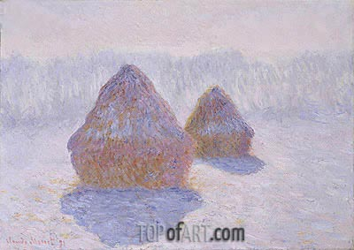 Haystacks (Effect of Snow and Sun), 1891 | Monet | Painting Reproduction