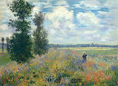 Poppy Fields near Argenteuil, 1875   Monet   Painting Reproduction