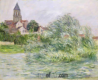 The Church and the Seine at Vetheuil, 1881 | Monet | Painting Reproduction